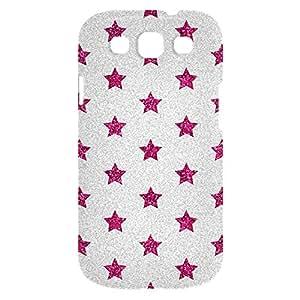 Loud Universe Samsung Galaxy S3 Glitter Stars Print 3D Wrap Around Case - Silver/Pink