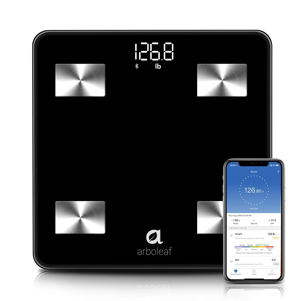 Bluetooth Body Fat Scale - Smart Scale Wireless Bathroom Weight Scale with iOS, Android APP, Unlimited Users, Auto Recognition, 10 Body Composition Analyzer, Fat, BMI, BMR, Muscle Mass, 396 lb - Black