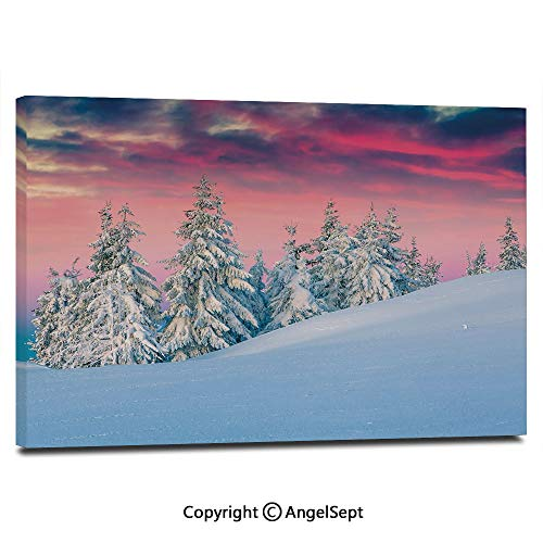 Modern Gallery Wrapped Idyllic Scenery in Snow Covered Mountains Pine Tree Forest Majestic Sky Serenity Pictures on Canvas Wall Art Ready to Hang for Living Room Kitchen Home Decor,12