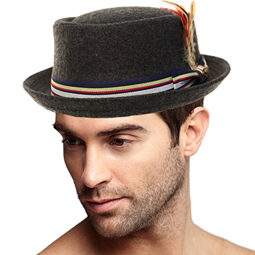 SK Hat shop Men's Removable Feather Winter Wool Porkpie Derby Fedora Striped Hat S/M by SK Hat shop