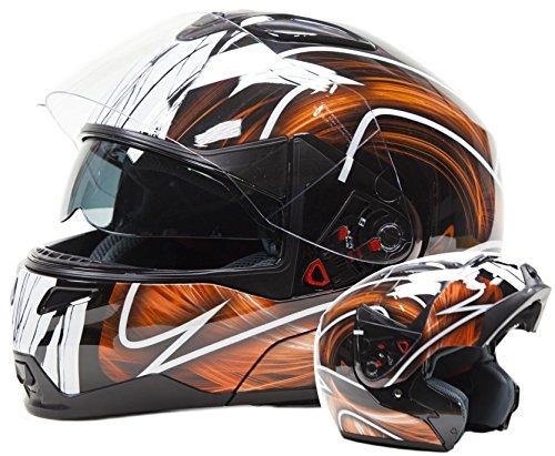 a563cbbb Adult Modular Motorcycle DOT Dual Visor Full Face Flip-up Helmet Orange  Large