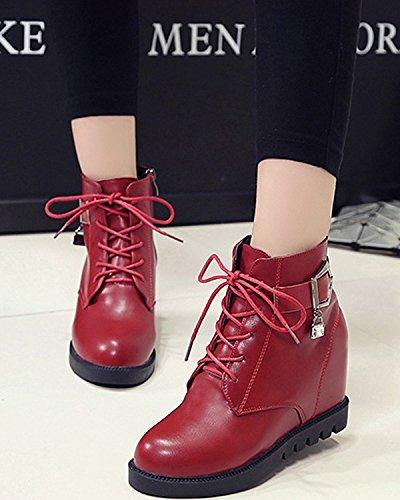 Minetom Mujer Otoño Invierno Cordones Martin Boots Talón De Cuña Botas Altura Creciente Zapatos Botas Rojo