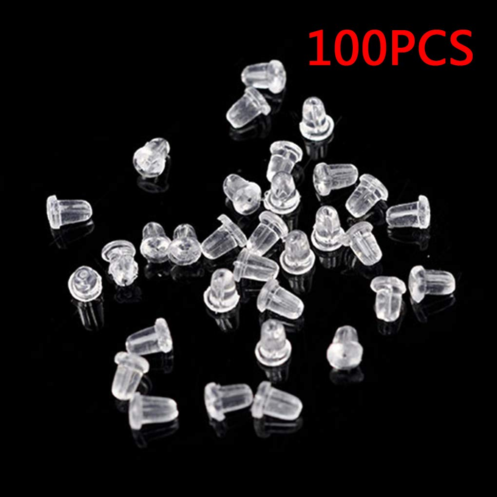 Plzlm 100 Pcs Plastic Earring Safety Back Stopper Replacement for Fish Hook Earring