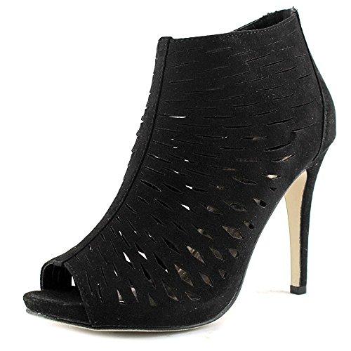 Black Peep Toe Heels (Madden Girl Women's Rockella Ankle Bootie, Black Fabric, 7 M US)