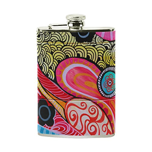 (LENNEL Jean-Philippe-Delberghe 8OZ Pocket Flask Stainless Steel Liquor Hip Flask PU Leather Wraped Cool Wiskey Wine Pot Flagon)