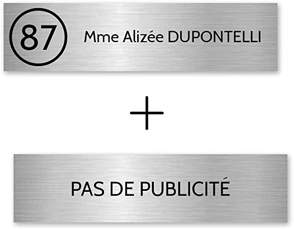 Plaque boite aux lettres STOP PUB format Edelen gris argent lettres noires 99x24mm 2 lignes