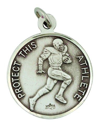 Football Medal Pendant (Sterling Silver Saint St Sebastian Football Sports Athlete Medal Pendant, 15/16 Inch)