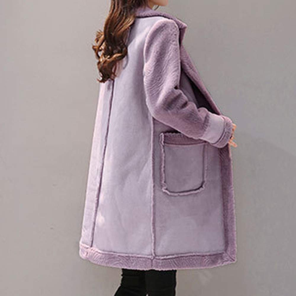 e112eccb37e Amazon.com: Lowpricenice DaySeventh Women's Lapel Faux Fur Fleece Lined  Warm Winter Shearling Coat Leather Jacket: Clothing