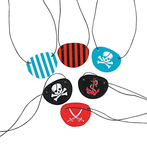 Fun Express - Fun Pattern Pirate Eyepatches - Apparel Accessories - Costume Accessories - Bulk Accessories - 12 Pieces ()