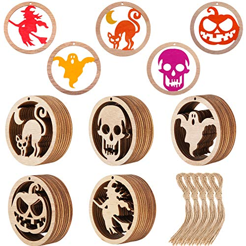 50 Pieces Halloween Wooden Crafts Hanging Wood Ornament Halloween Wood Cutout Gift Tags with Twine Ropes for Halloween DIY Home Decor (Style Set