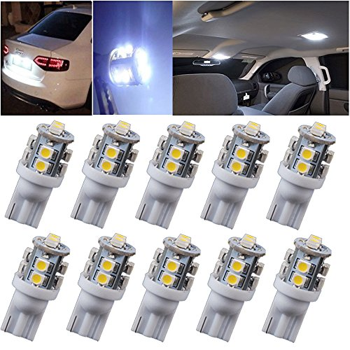 T10 10 SMD LED Car Wedge Side Light Lamp Bulbs DC, W5W 147 168 194 (Pack of 10)--White Automotive Lighting Replacement ()