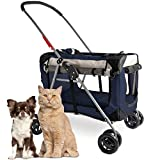 PetLuv Happy Cat Premium 3-in-1 Soft Sided Detachable Pet Carrier, Travel Crate, and Pet Stroller - Locking Zippers, Comfy Plush Nap Pillow, Airy Windows, Sunroof, Reduces Anxiety Larger Image