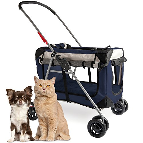 """PetLuv """"Happy Pet Premium 3-in-1 Soft Sided Detachable Pet Carrier, Travel Crate, and Pet Stroller - Locking Zippers, Comfy Plush Nap Pillow, Airy Windows, Sunroof, Reduces Anxiety from PetLuv"""