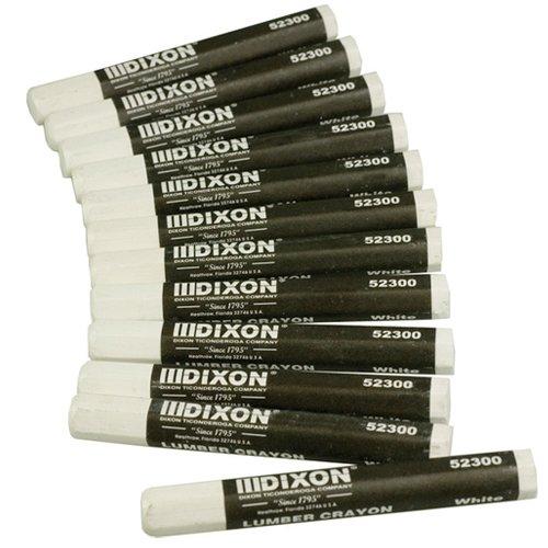(Dixon 52300 Lumber Marking Crayons, White, 12-Pack)