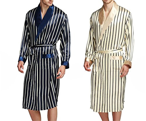 Susan1999 Mens Silk Satin Pajamas Pajama Sleepwear Robe Robes Nightgown Robes S M L XL 2XL 3XL Plus Beige Blue Striped