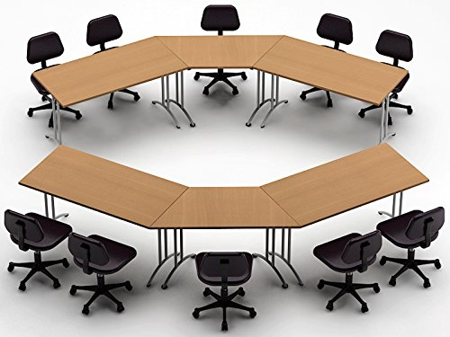 Conference Meeting Seminar Training Folding Tables - ASSEMBLED Commercial Grade Folding Tables Easy Setup - 6pc Combo Model 3346 - Color Natural Beech - (Chairs NOT ()