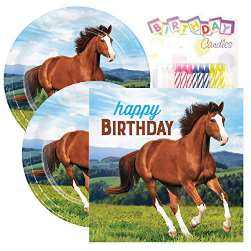 - Horse and Pony Themed Party Pack – Includes Paper Plates & Luncheon Napkins Plus 24 Birthday Candles – Servers 16