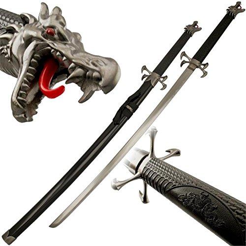 Dragon's Tongue Samurai Katana Sword with Dragon Head Pommel (Head Sword Dragon)