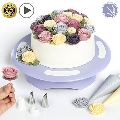 Cake Turntable by LAVANDIN - Rotating Cake Stand - Cake Decorating Supplies - Lavandin\'s Exclusive Online Cake Decorating Video Tutorials - Complete with Flower-Making Kit
