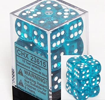Chessex Dice d6 Sets: Teal with White Translucent - 16mm Six Sided Die (12) Block of Dice