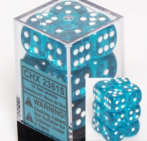 - Chessex Translucent 16mm d6 Teal w/White Dice Block 12 pipped dice