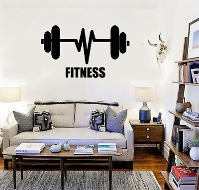 Fitness Barbell Bodybuilding Sports Gym Wall Decal Vinyl Stickers VS154