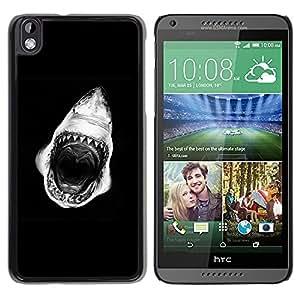 Caucho caso de Shell duro de la cubierta de accesorios de protección BY RAYDREAMMM - HTC DESIRE 816 - Mouth Teeth Black White
