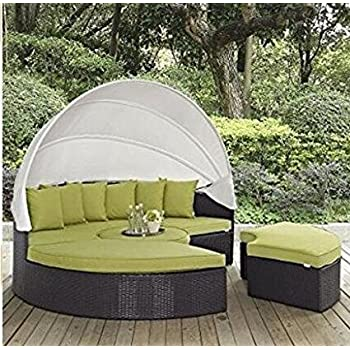 lexmod quest circular outdoor wicker rattan patio daybed with canopy espresso yellow with nice gift