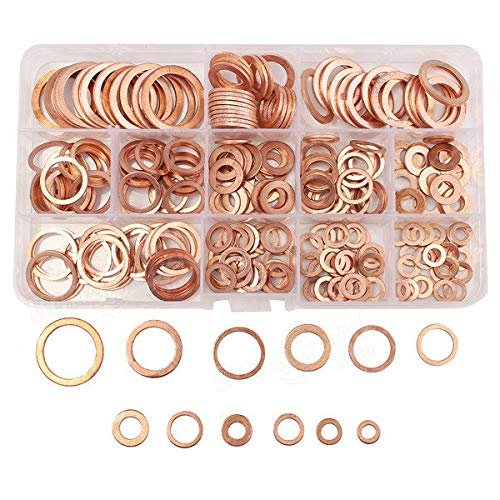 Prong Paper Fasteners Washers - 280PCs Solid Copper Washers Sump Plug Assorted Washer Kits 12 Sizes