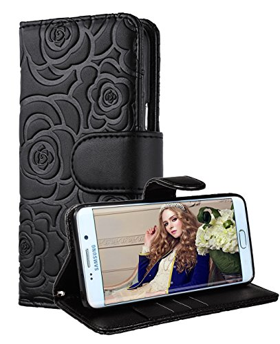 Samsung Galaxy S7 Edge wallet case, FLYEE Premium Vintage Emboss Flower Flip Wallet Shell PU Leather Magnetic Cover Skin with Detachable Wrist Strap Case for Galaxy S7 Edge 5.5 Inch -Black Review
