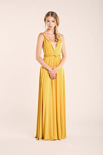 Prom dress, Mustard prom dress, yellow long dress, mustard bridesmaid dress, yellow