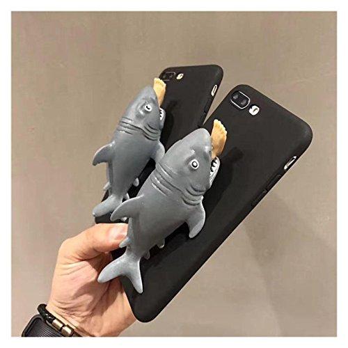 Squishy 3D Pincez Motif Shark Cartoon Creative cas PC Retour pour iPhone Phone 7