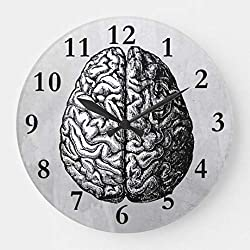 Moonluna Vintage Brain Drawing Funny Wall Clocks Decorative for Living Room Kitchen Home Decor Wooden Clock 12 Inches