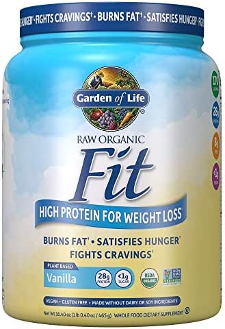 Garden of Life Organic Meal Replacement - Raw Organic Fit Powder, Vanilla - High Protein for Weight Loss (28g) Plus Fiber, Probiotics & Svetol, Organic & Non-GMO Vegan Nutritional Shake, 10 Servings