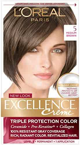 L'Oreal Paris Excellence Creme Permanent Hair Color, 5 Medium Brown, 1 Count kit 100% Gray Coverage Hair Dye