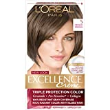 L'Oréal Paris Excellence Créme Permanent Hair Color, 5 Medium Brown, 1 kit 100% Gray Coverage Hair Dye