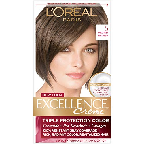 L'Oréal Paris Excellence Créme Permanent Hair Color, 5 Medium Brown, 1 kit 100% Gray Coverage Hair Dye (Best Natural Hair Color For Grey Hair)