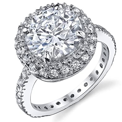 3 Carat Round Brilliant Cubic Zirconia CZ Sterling Silver 925 Engagement  Ring, Bridal Ring