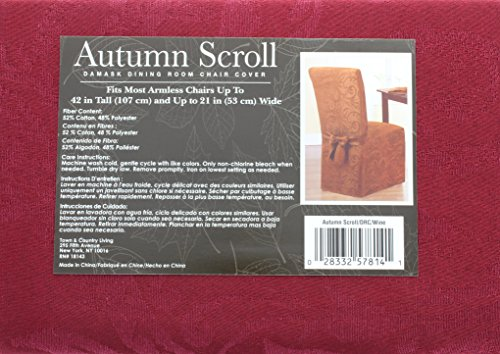 (Autumn Scroll Damask Dining Room Chair Cover in a Wine Color)