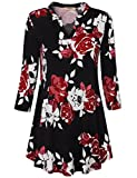 Timeson Women's Floral Printed V Neck Loose Casual Cuffed 3/4 Sleeve Tunic Shirt (Large, Multicolor Red)