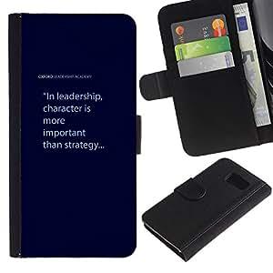 LASTONE PHONE CASE / Lujo Billetera de Cuero Caso del tirón Titular de la tarjeta Flip Carcasa Funda para Samsung Galaxy S6 SM-G920 / leadership character blue text quote