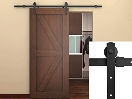 "Country Style Dark Coffee 6.6/"" Sliding Barn Door Rail Roller Track Hardware Kit"