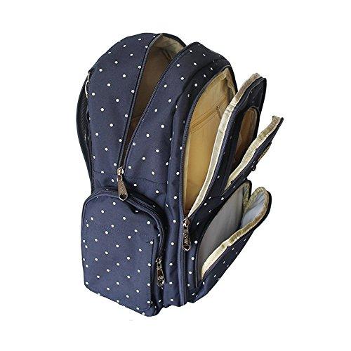 Imyth–gran capacidad bolso para mochila de viaje impermeable bolsa para bebé con cambiador y clips para cochecito Linen Gray BlueDot