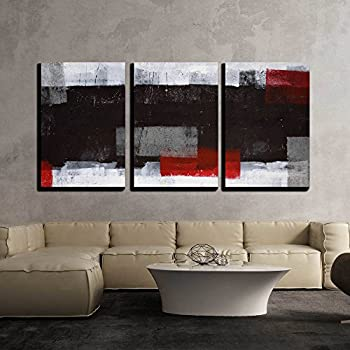 wall26 - Grey and Red Abstract Art - Canvas Art Wall Decor - 16