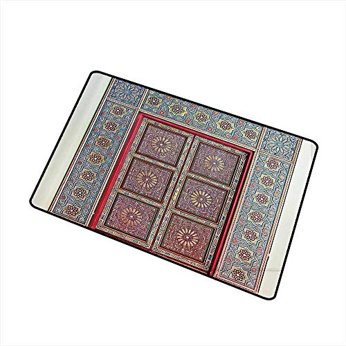 Axbkl Stylish Commercial Grade Entry pad Moroccan Decor Collection A Magnificent Moroccan Traditional Ancient Door Gate Brass Historic Handicraft Image W35 xL59 All Season General Blue Coral
