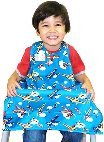 BIB-ON, A New, Full-Coverage Bib and Apron Combination for Infant, Baby, Toddler Ages 0-4+. One Size Fits All! (Planes)
