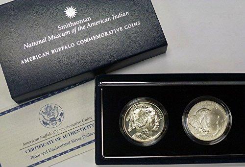 American Buffalo Commemorative Coin - 2001 P D Commemorative Set Smithsonian American Buffalo UNC and Proof Dollars OGP