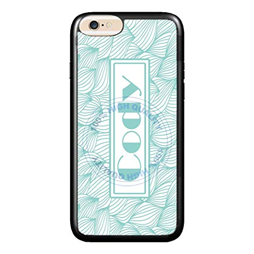 BRGiftShop Personalized Custom Name Teal And White Modern Vintage Damask Print Rubber Phone Case For Apple iPhone 6 6s (4.7 Inches Screen)