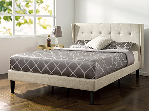 Zinus Upholstered Button Tufted Wingback Platform Bed / Wood Slat Support, Queen