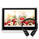 NAVISKAUTO 10.1 Inch HD 1080P Headrest Monitor LCD Wide Screen Ultra-thin Car Headrest USB/SD/HDMI Player with An Headphone and Remote NOT DVD PLAYER(CH1006S+Y0166)
